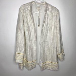 NEW • CHICOS • Textured Embellished Trim Jacket